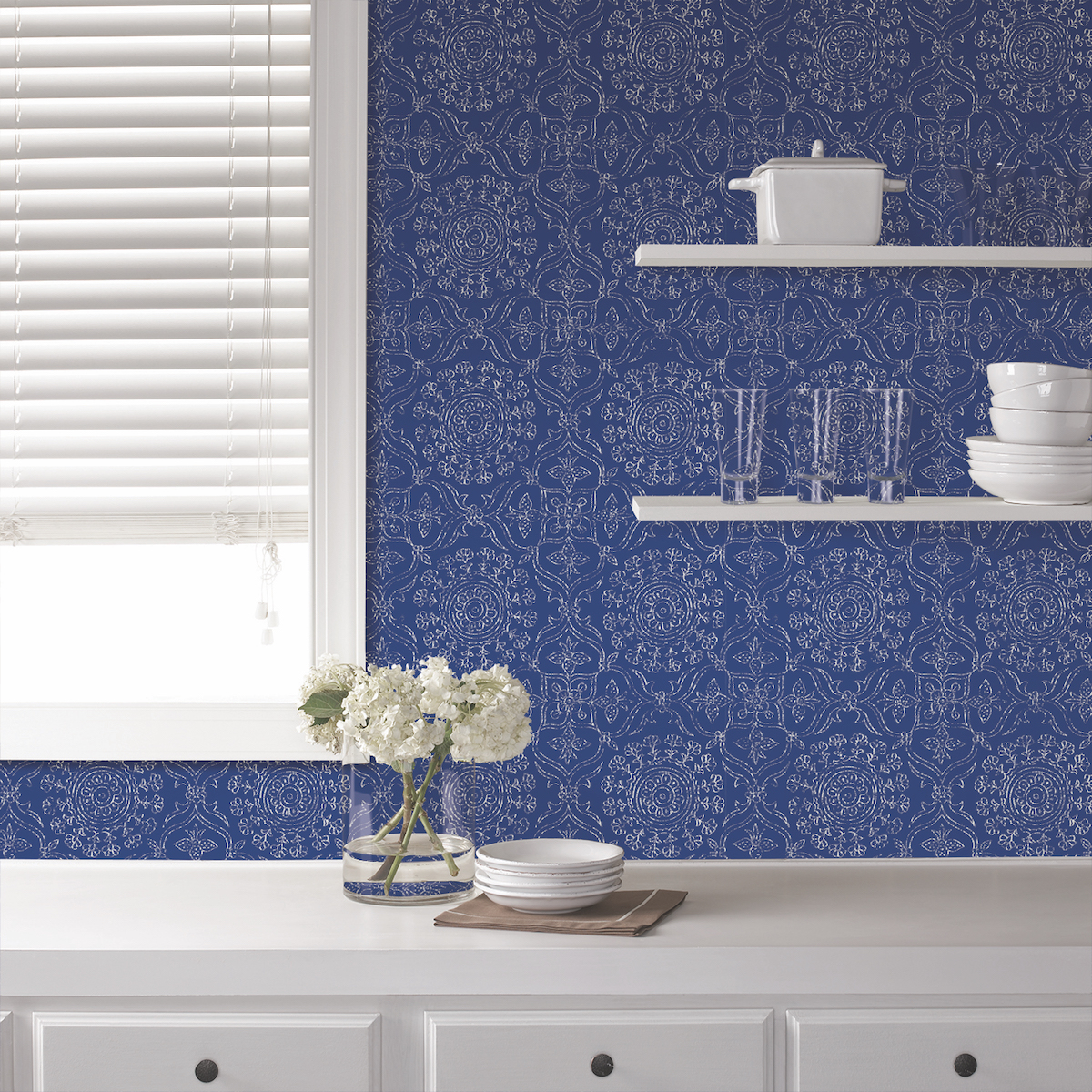 kitchen shelves with wallpaper