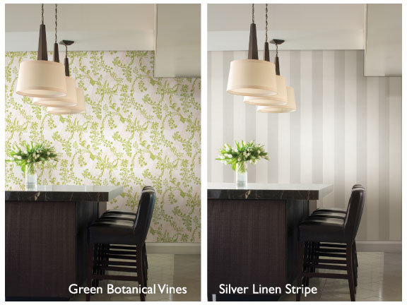 stripe wallpaper vs botanical wallpaper