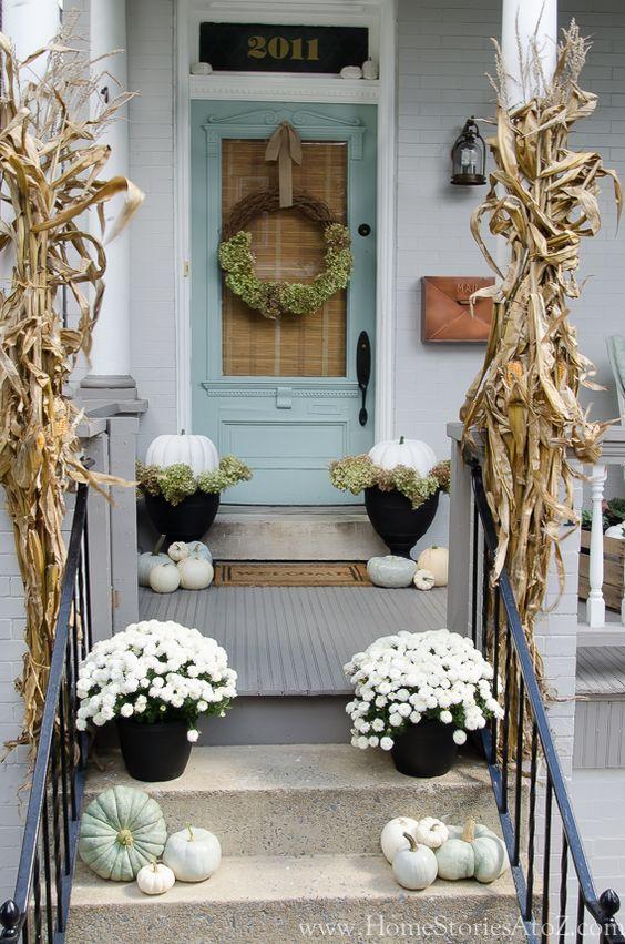blue porch fall decor via Home Stories A to Z