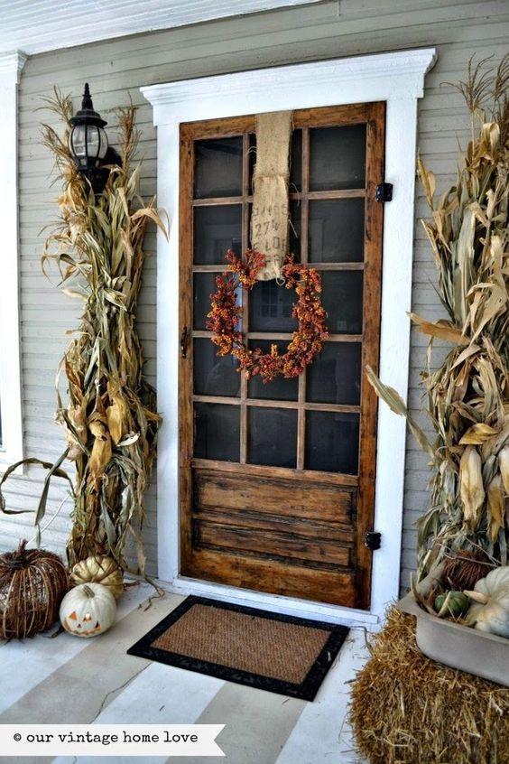 cornstalk front porch via Vintage Home Love