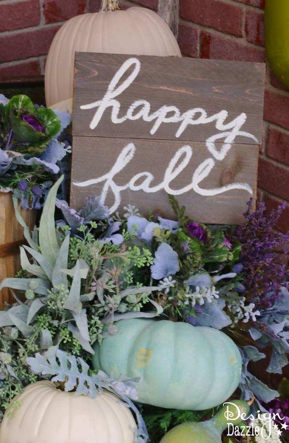 purple fall porch decor via Design Dazzle