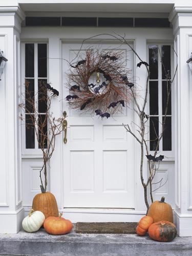 white fall porch decor via Country Living