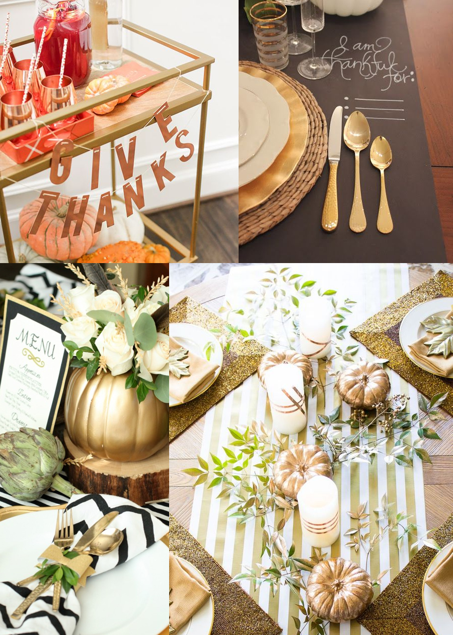 Thanksgiving tablescape inspiration: metallics