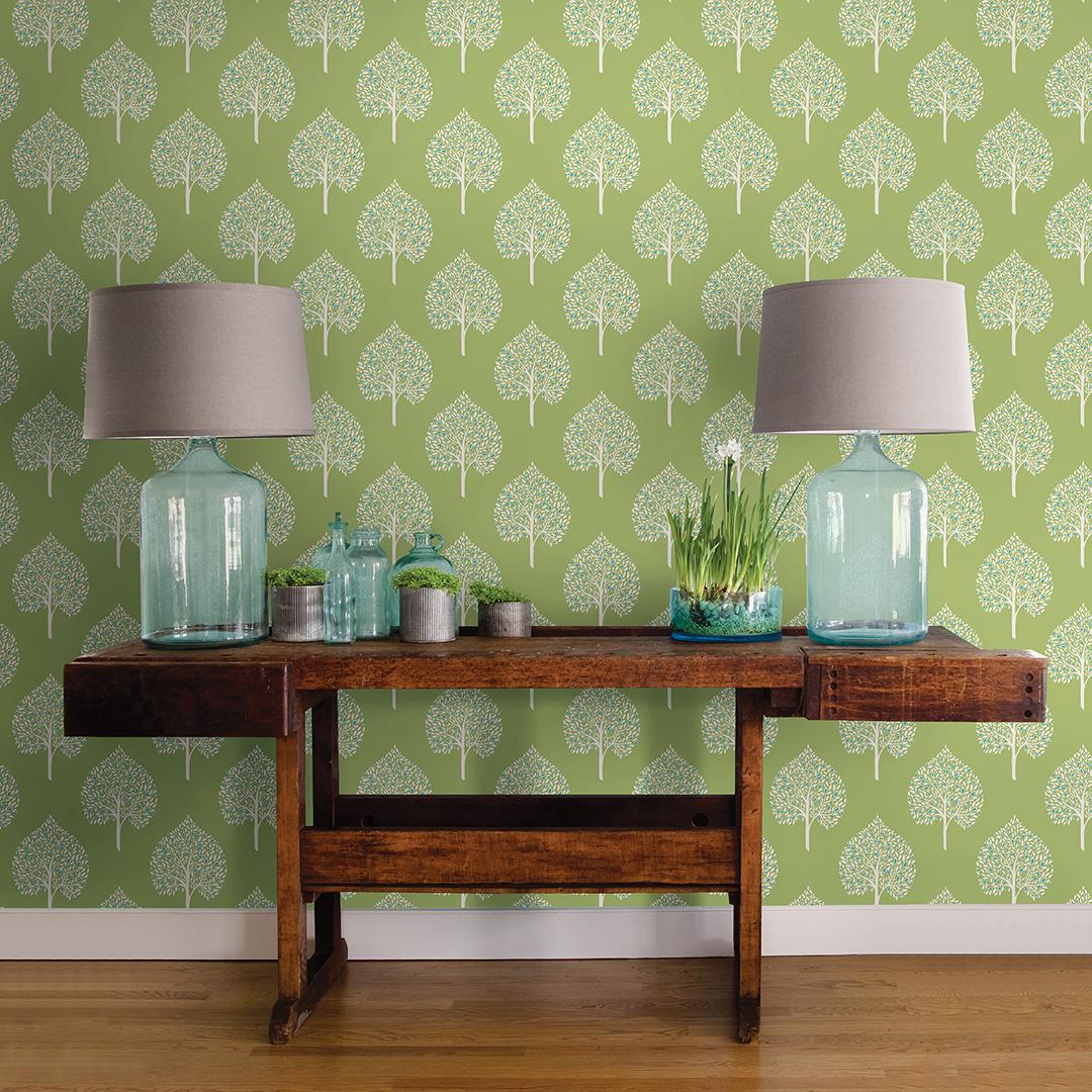 Green modern tree wallpaper