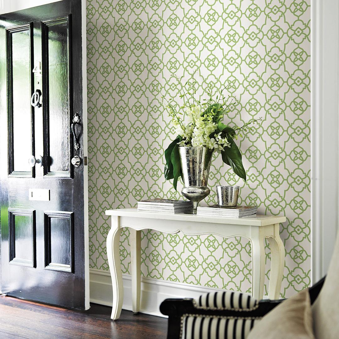 Green Modern Trellis Wallpaper