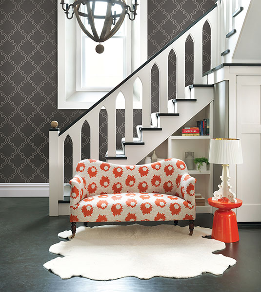 Grey Quatrefoil Wallpaper