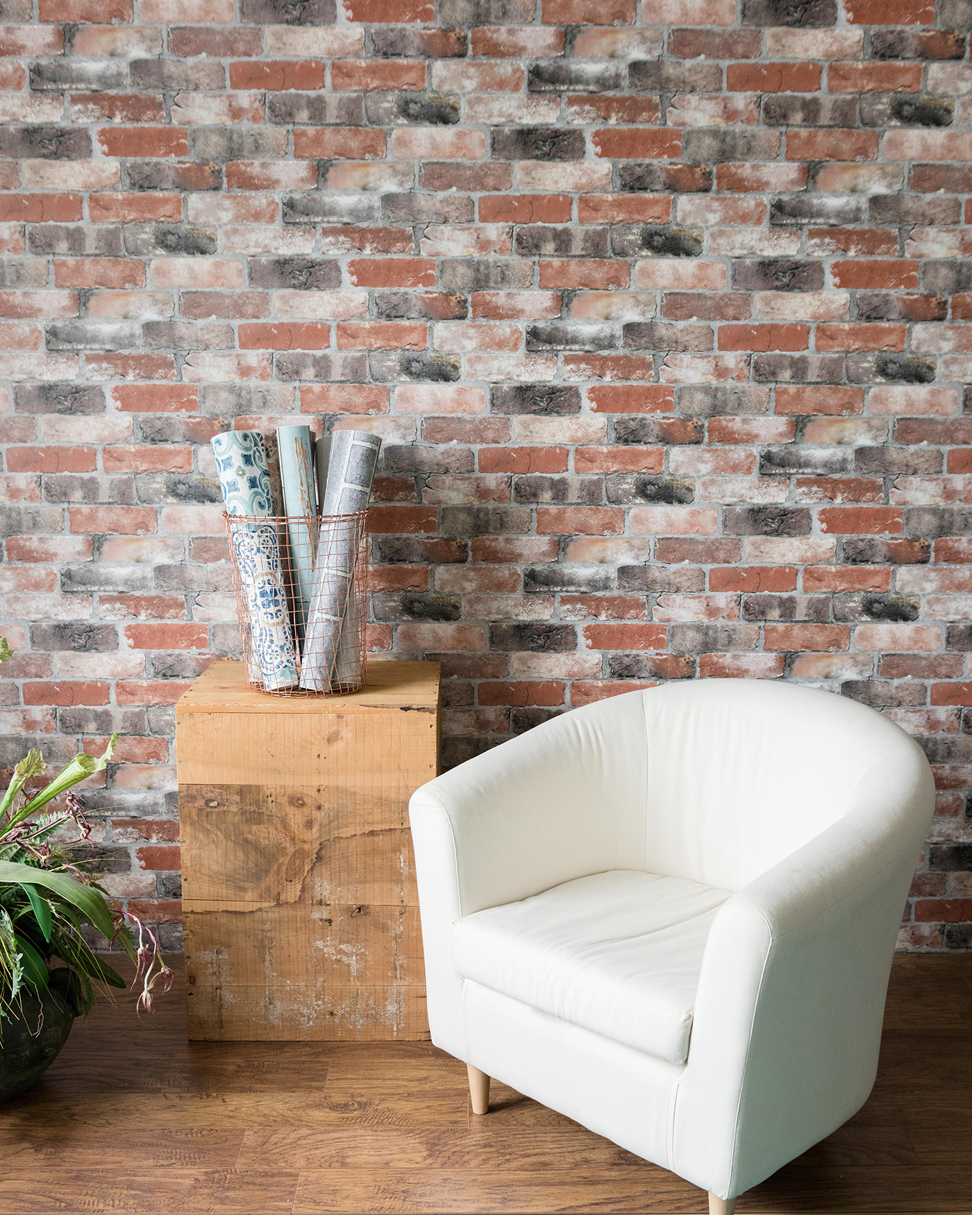 Faux exposed brick wall made with brick wallpaper