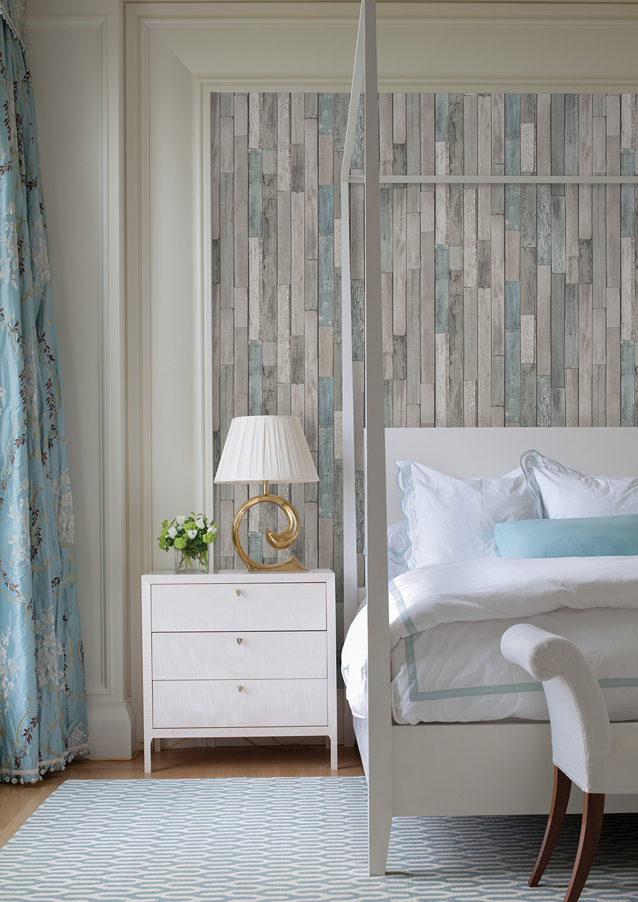 Grey and Blue Barn Board Wallpaper feature wall in a master bedroom