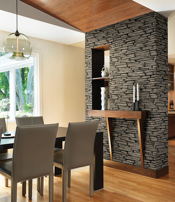 Faux stone divider wall