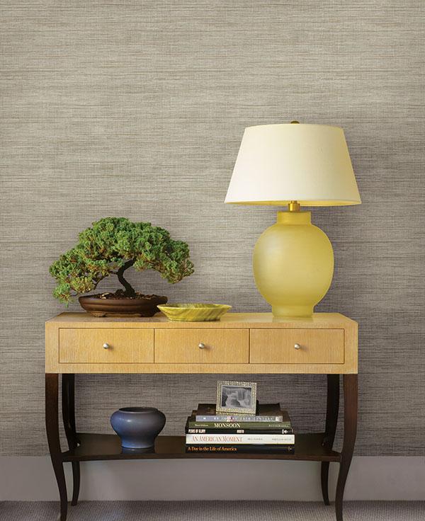 Faux beige grasscloth wallpaper