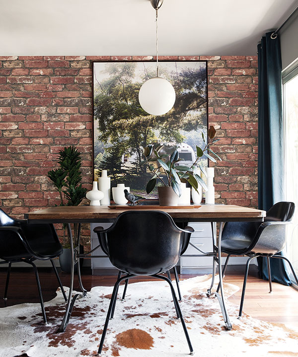 Faux exposed brick wall using wallpaper