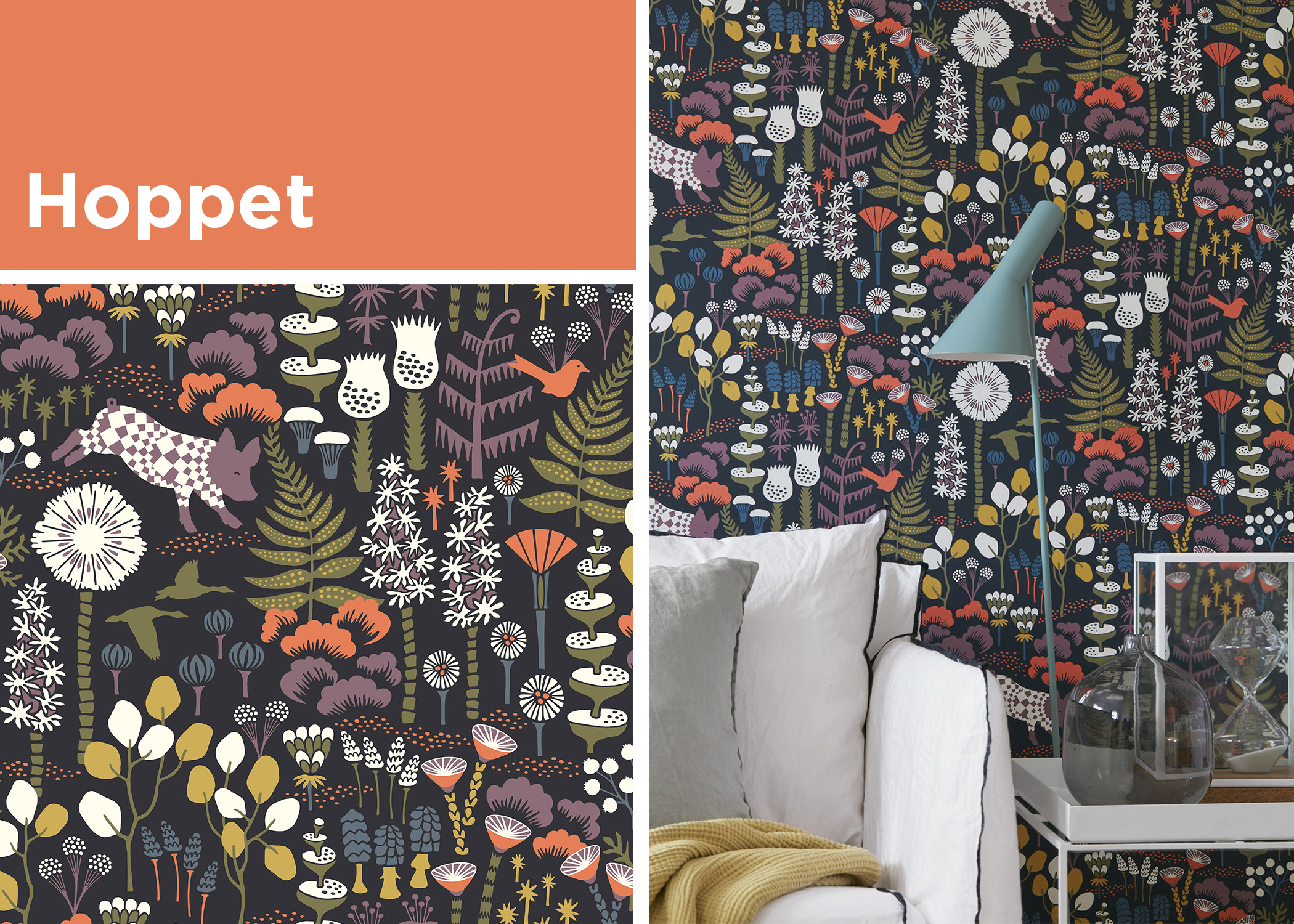hoppet animal botanical wallpaper