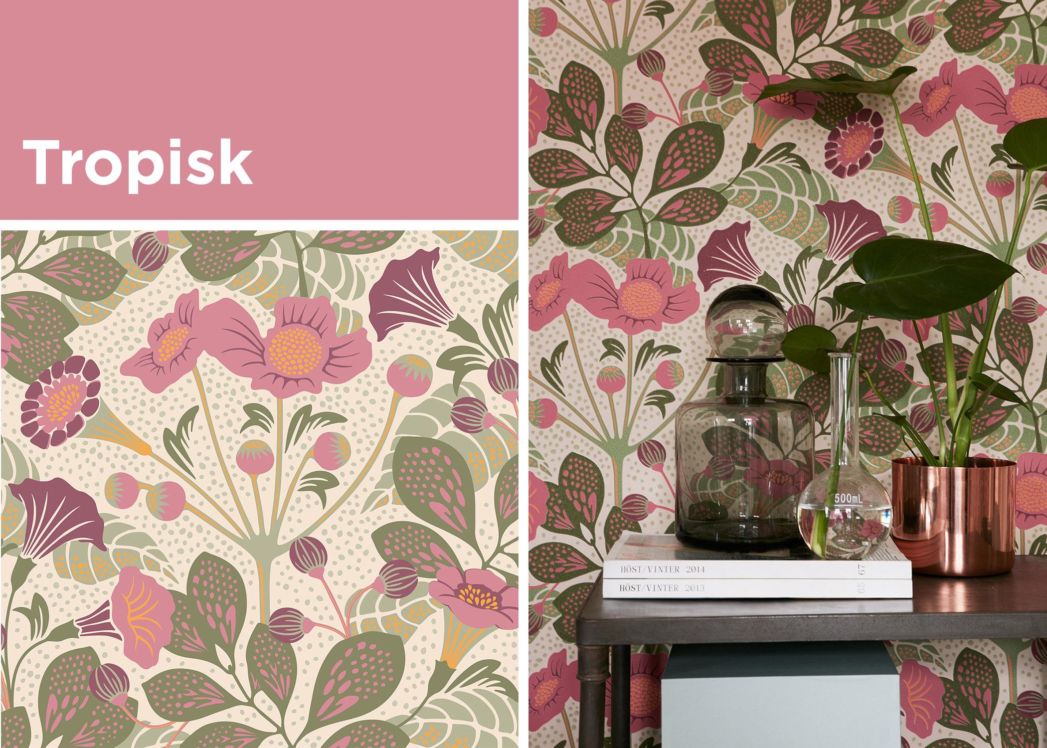 Tropisk pink floral wallpaper