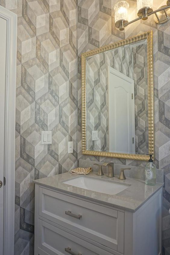 Geometric wood tile wallpaper