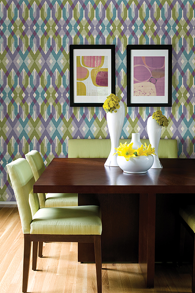 Geometric lattice wallpaper with Ultra Violet accents