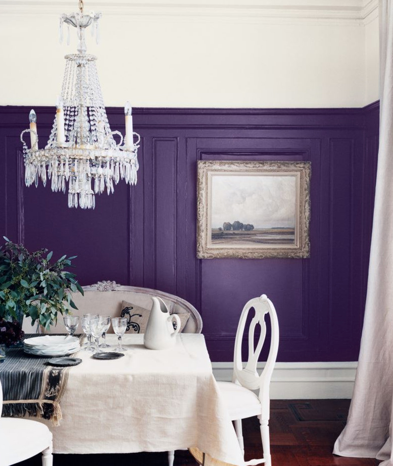 Ultra Violet purple adds dramatic wainscoting to a dining room