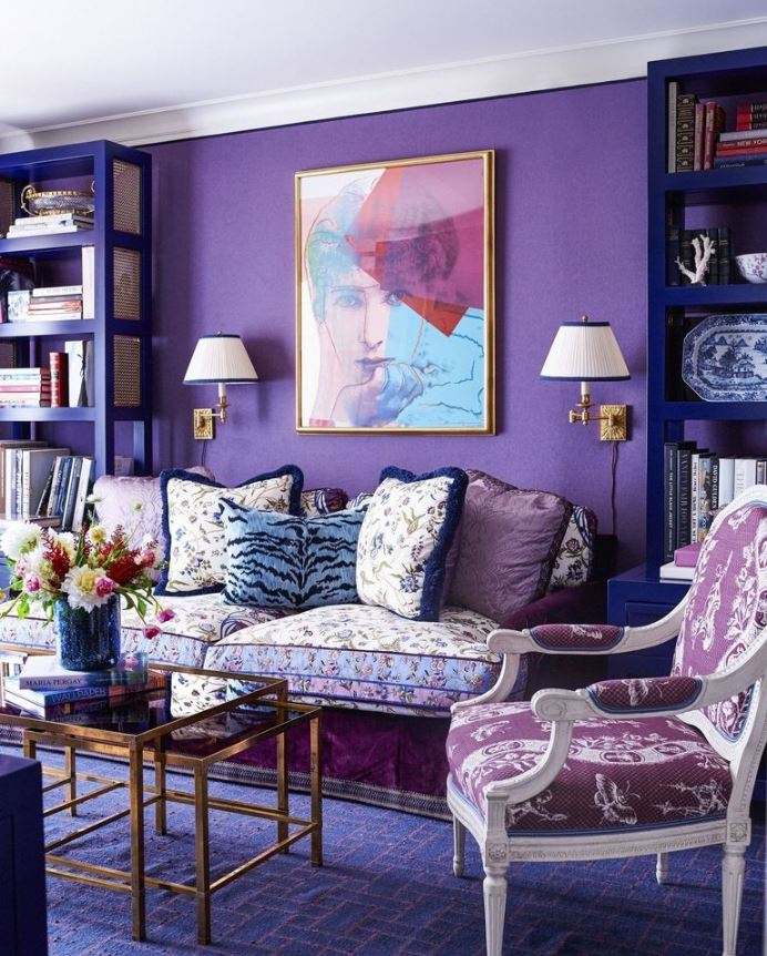 Ultra Violet purples - eclectic living room with lots of texture and pattern