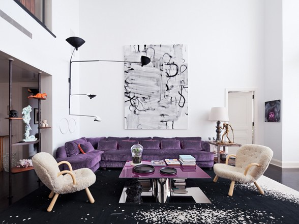 Ultra Violet couch in swanky modern living room