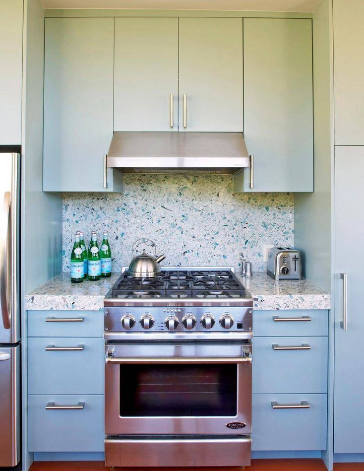 Terrazzo style backsplash in contemporary kitchen