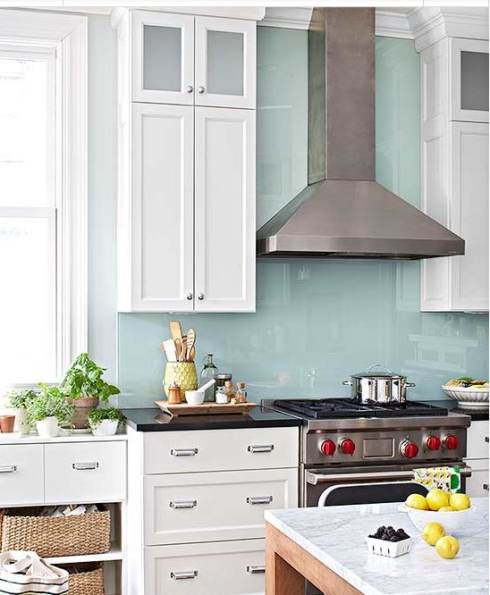 Pale turquoise glass backsplash