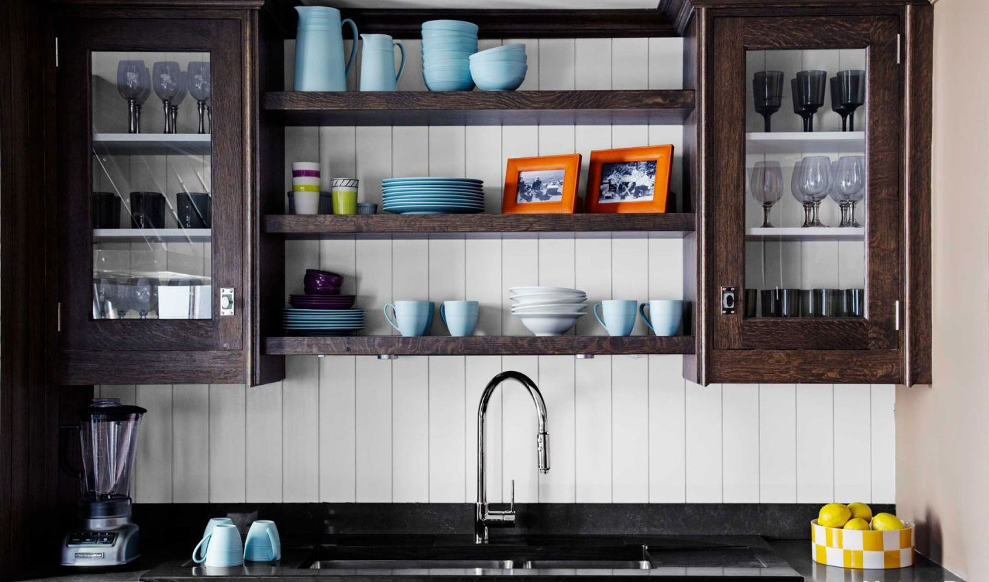 Vertical shiplap backsplash with open shelving