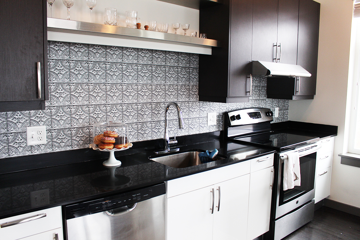 Silver Faux Tin Tile Backsplash