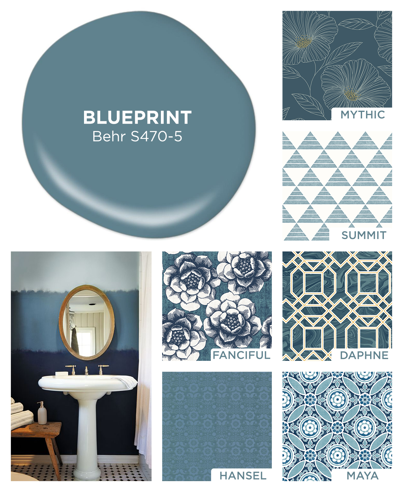 Blueprint color of the year 2019 home inspiration with wallpaper