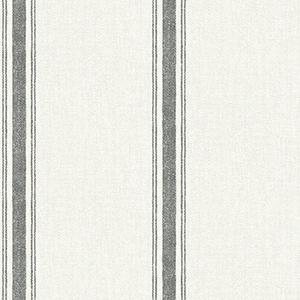 Black striped faux linen wallpaper