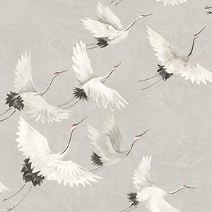 Eclectic crane wallpaper