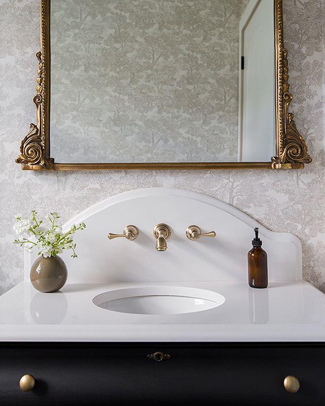 Elegant tree toile bathroom renovation