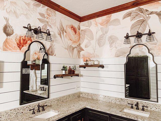 Striking graphic & floral bathroom renovation
