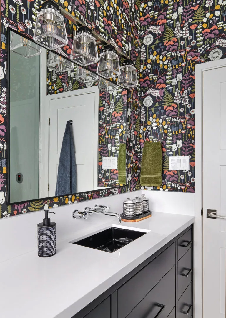 Claire Jefford's whimsical and bold design modernized her previously outdated bathroom.