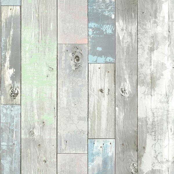 Wood wallpaper with pops of Aqua create a coastal décor style